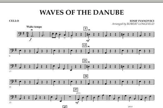 Robert Longfield Waves of the Danube - Cello sheet music notes and chords. Download Printable PDF.