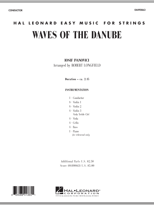 Robert Longfield Waves of the Danube - Full Score sheet music notes and chords. Download Printable PDF.