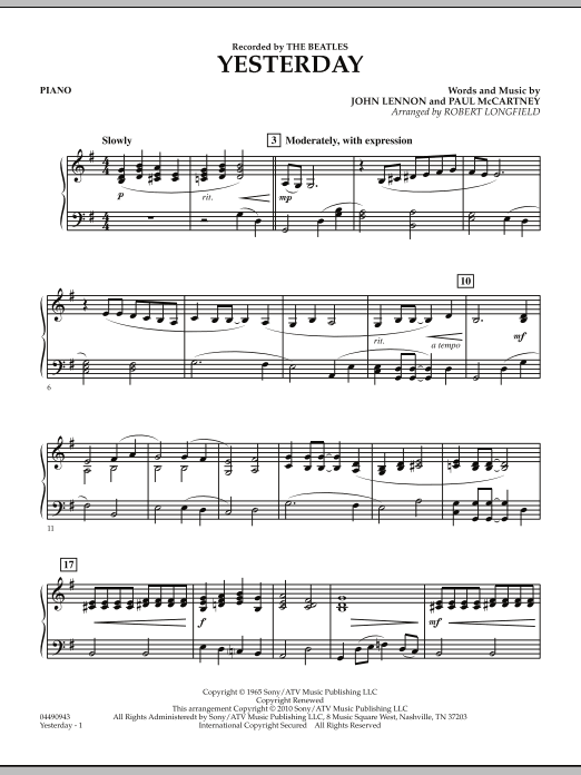 Robert Longfield Yesterday - Piano sheet music notes and chords. Download Printable PDF.
