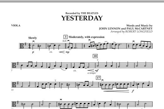 Robert Longfield Yesterday - Viola sheet music notes and chords. Download Printable PDF.