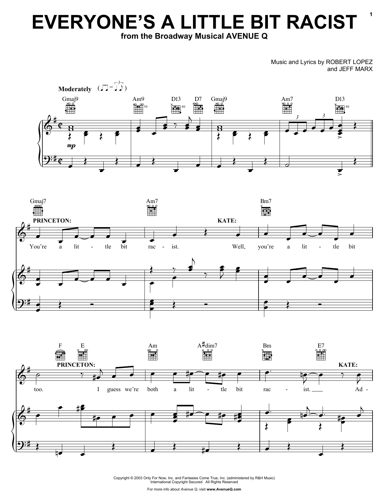 Robert Lopez & Jeff Marx Everyone's A Little Bit Racist (from Avenue Q) sheet music notes and chords. Download Printable PDF.