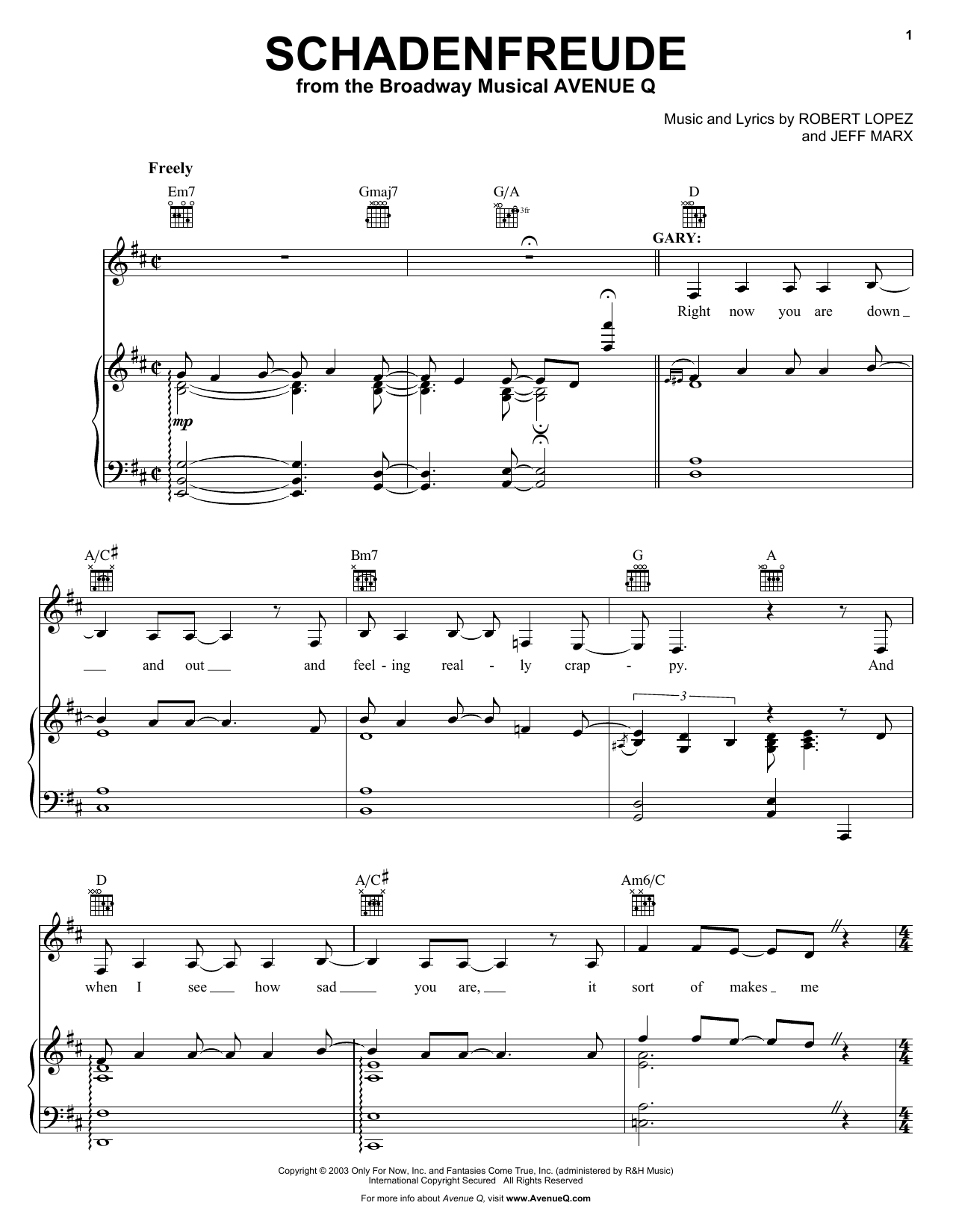 Robert Lopez & Jeff Marx Schadenfreude (from Avenue Q) sheet music notes and chords. Download Printable PDF.