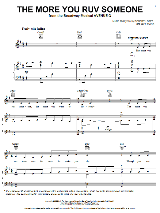 Robert Lopez & Jeff Marx The More You Ruv Someone (from Avenue Q) sheet music notes and chords. Download Printable PDF.