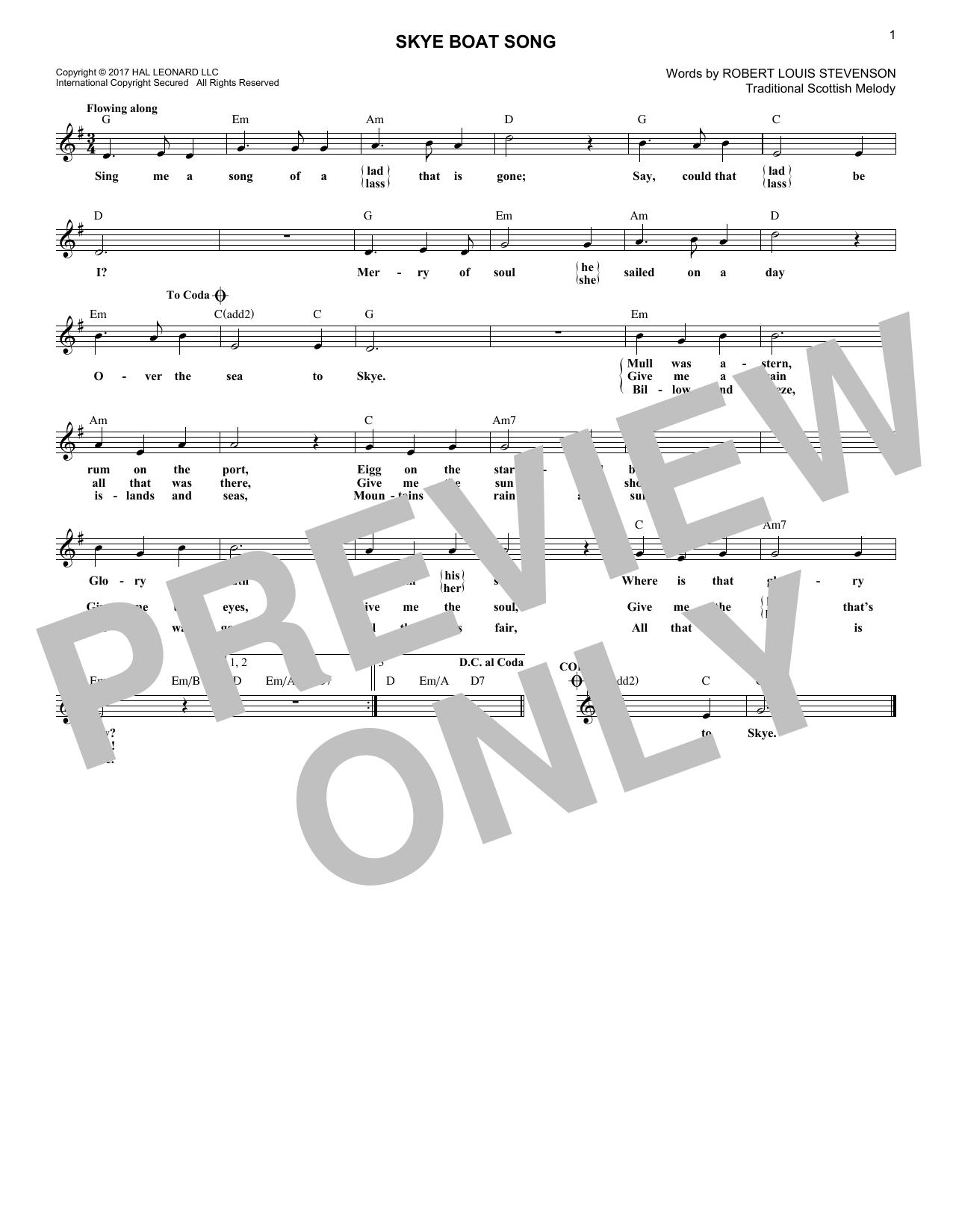 Robert Louis Stevenson Skye Boat Song sheet music notes and chords. Download Printable PDF.