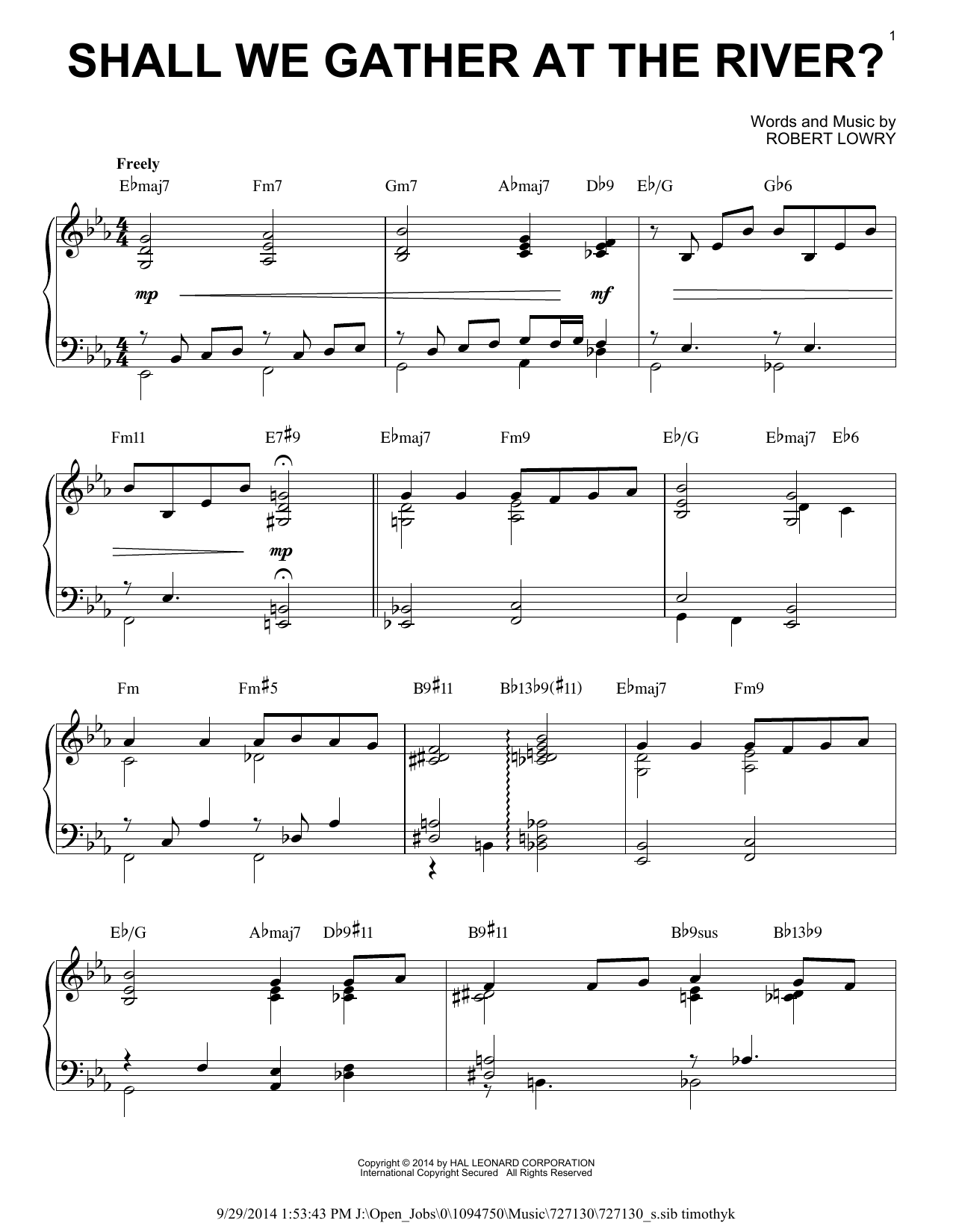 Robert Lowry Shall We Gather At The River? [Jazz version] (arr. Brent Edstrom) sheet music notes and chords. Download Printable PDF.