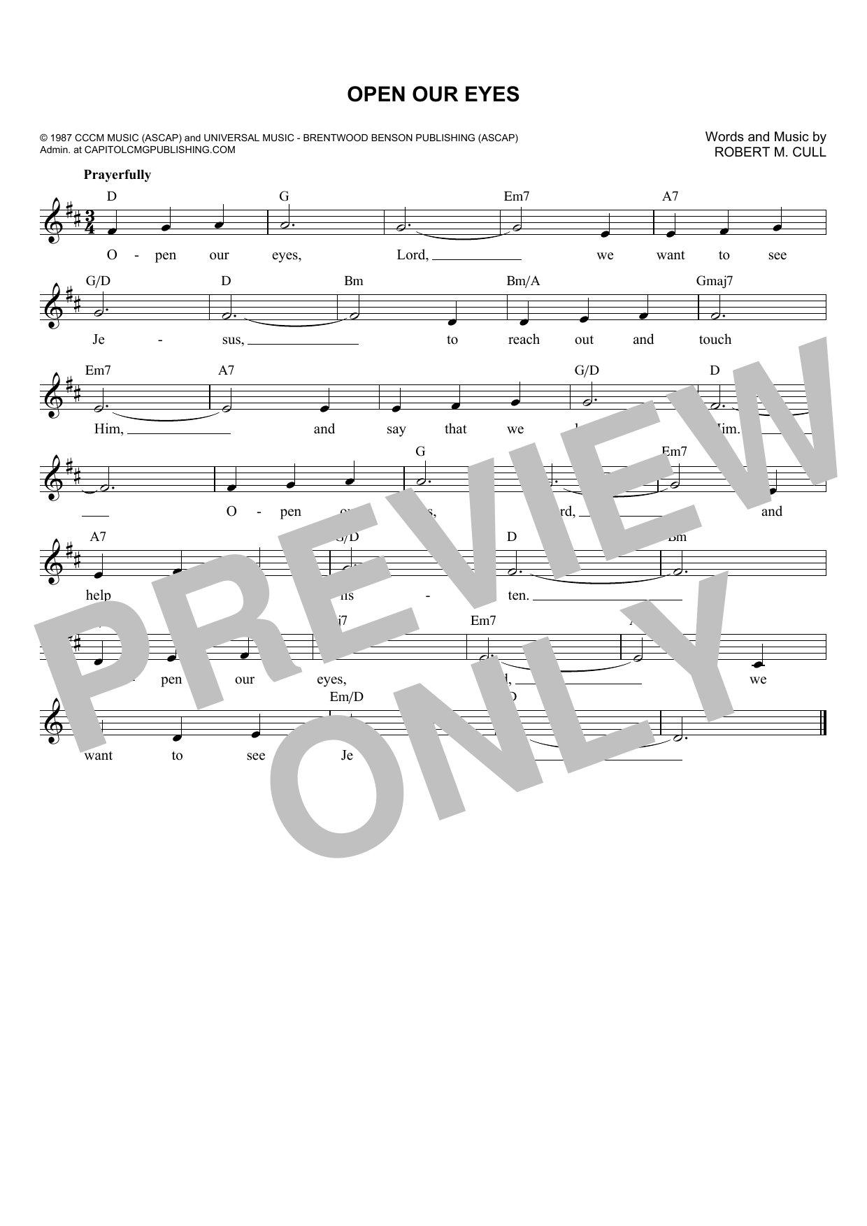 Robert M. Cull Open Our Eyes sheet music notes and chords. Download Printable PDF.