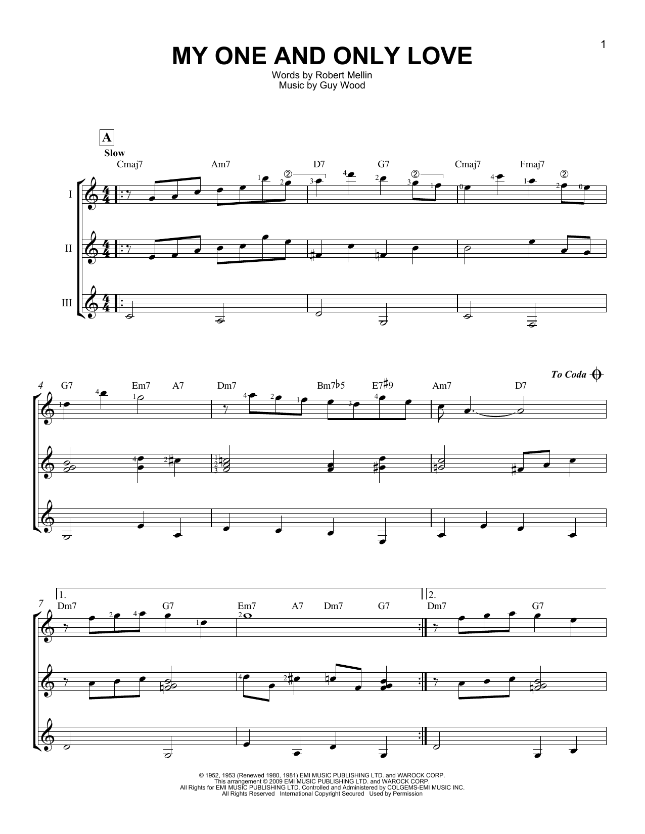 Robert Mellin My One And Only Love sheet music notes and chords. Download Printable PDF.
