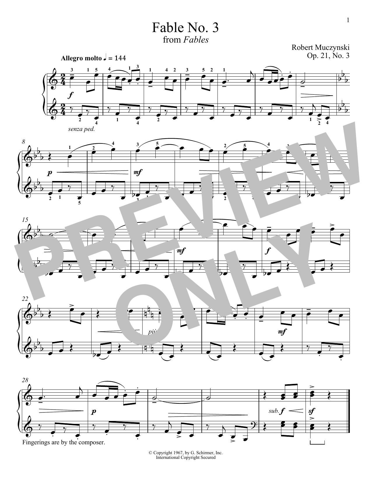 Robert Muczynski Fable No. 3, Op. 21 sheet music notes and chords. Download Printable PDF.