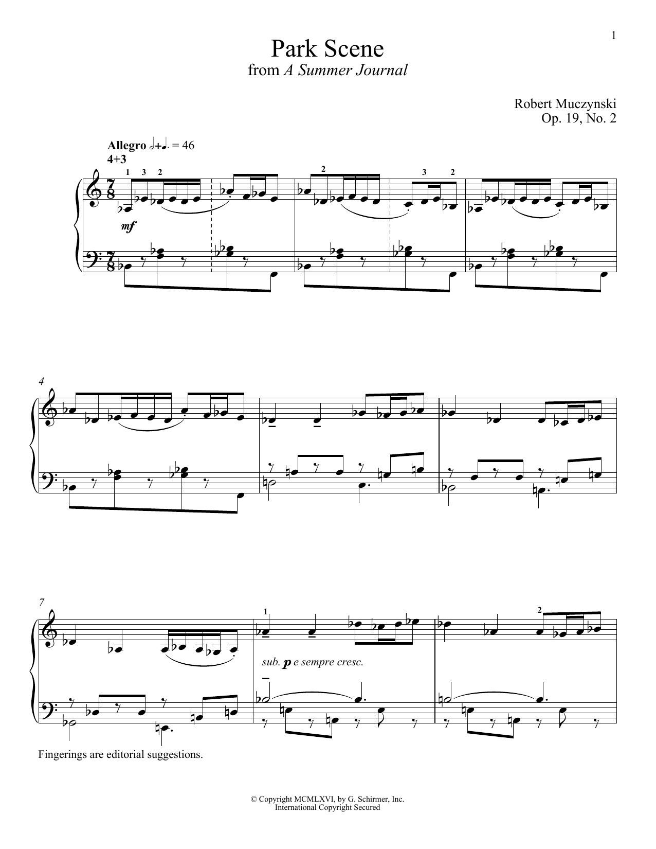Robert Muczynski Park Scene sheet music notes and chords. Download Printable PDF.
