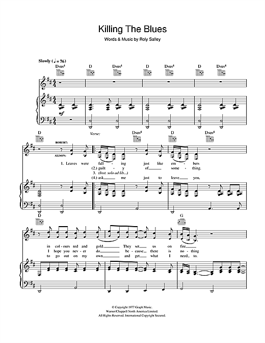 Robert Plant and Alison Krauss Killing The Blues sheet music notes and chords