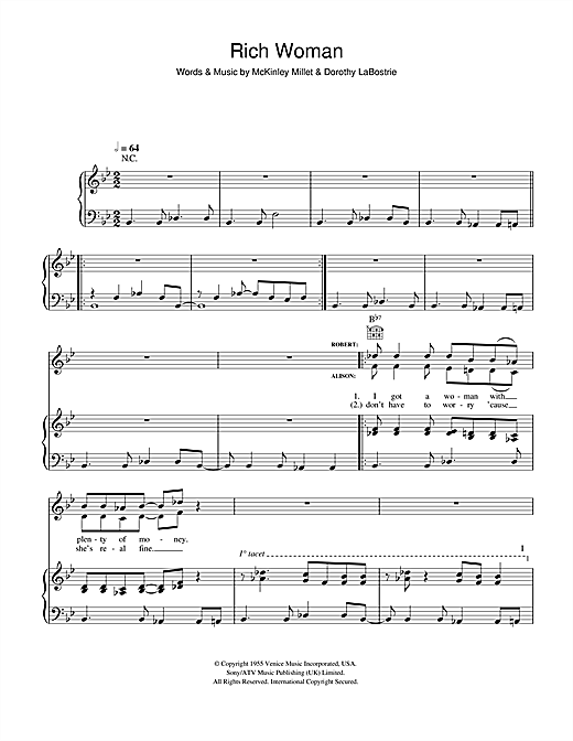 Robert Plant and Alison Krauss Rich Woman sheet music notes and chords