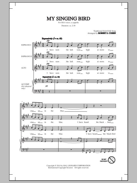 Robert S. Cohen My Singing Bird sheet music notes and chords. Download Printable PDF.