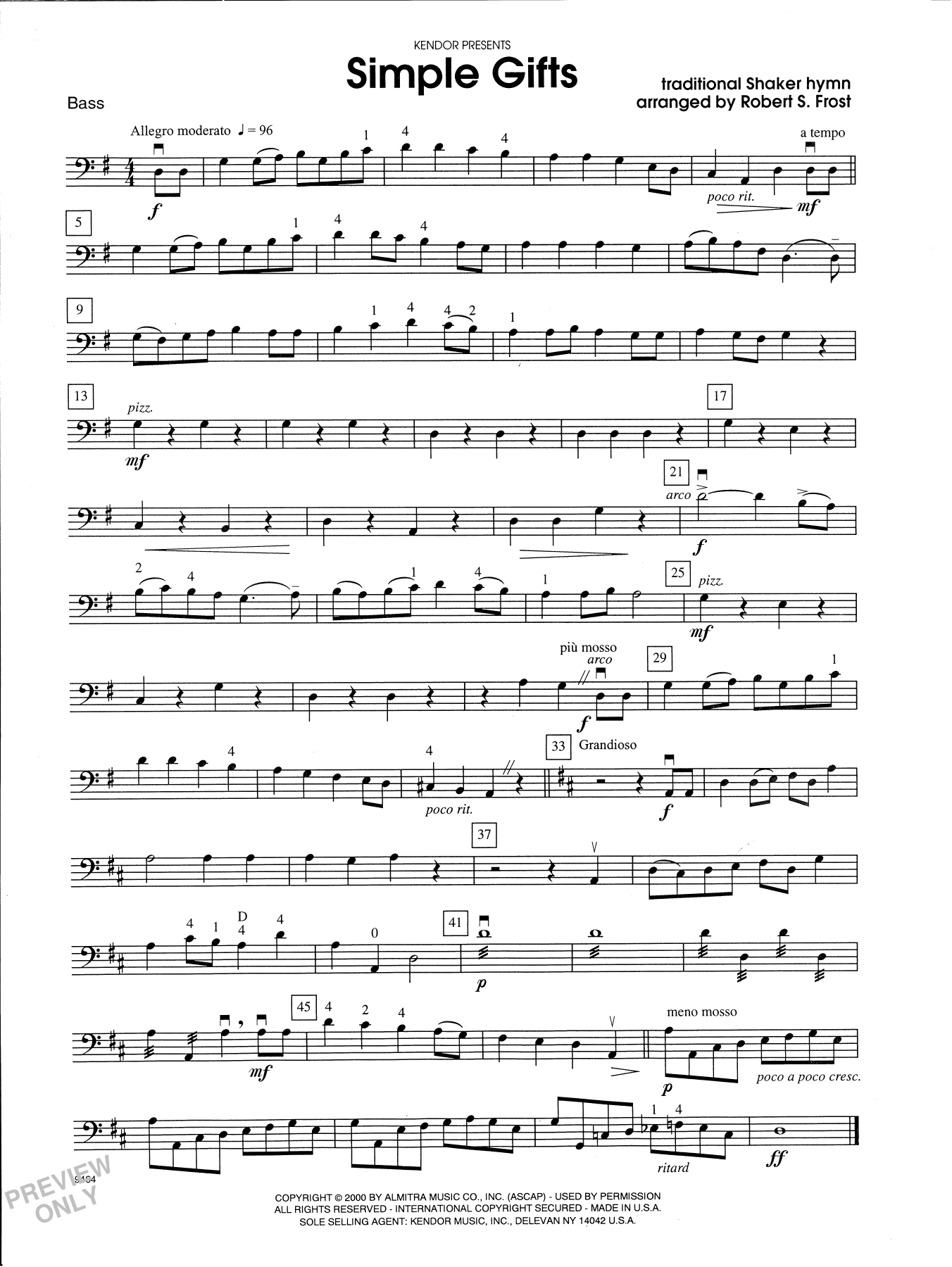 Robert S. Frost Simple Gifts - Bass sheet music notes and chords. Download Printable PDF.