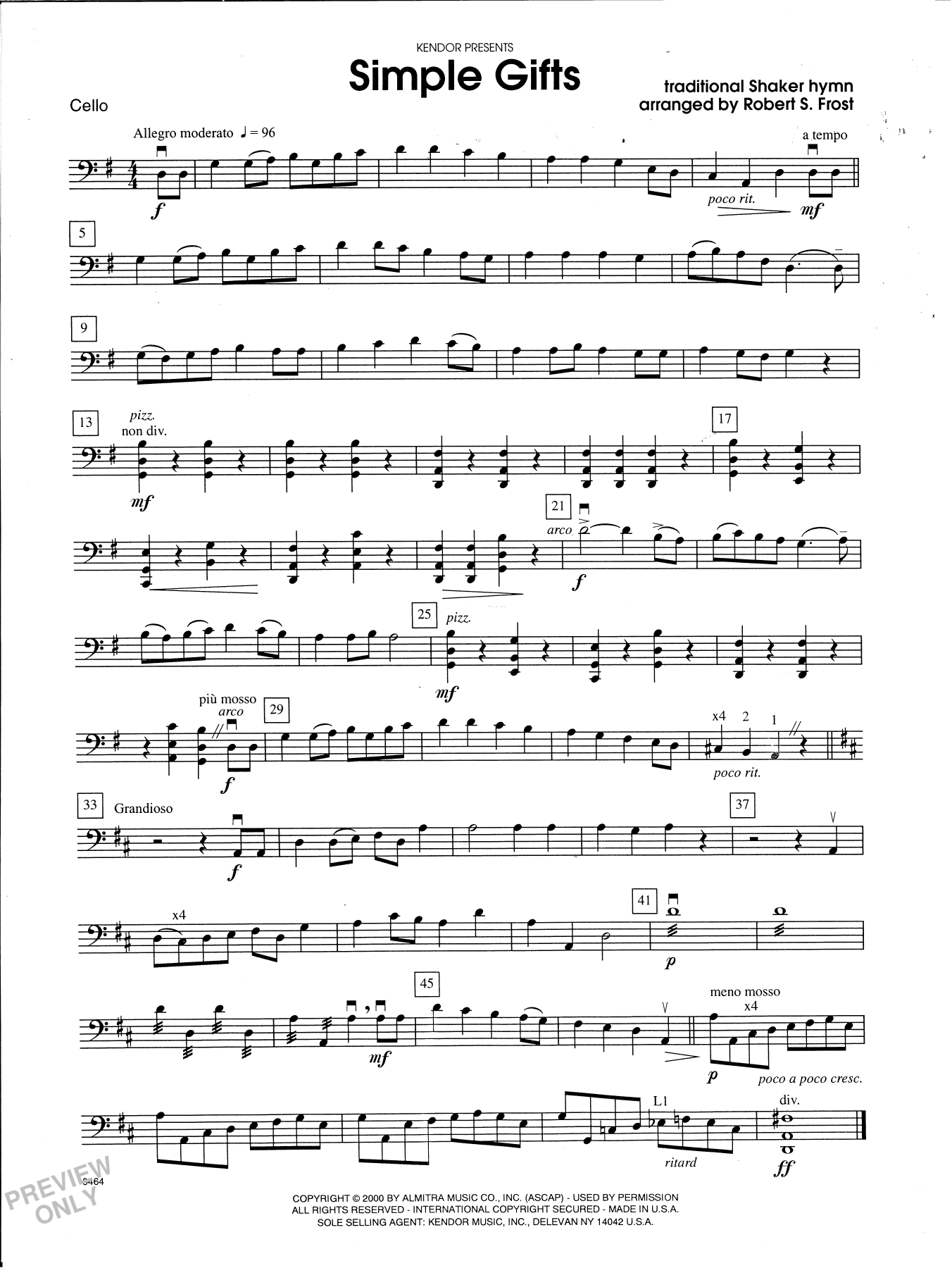 Robert S. Frost Simple Gifts - Cello sheet music notes and chords. Download Printable PDF.