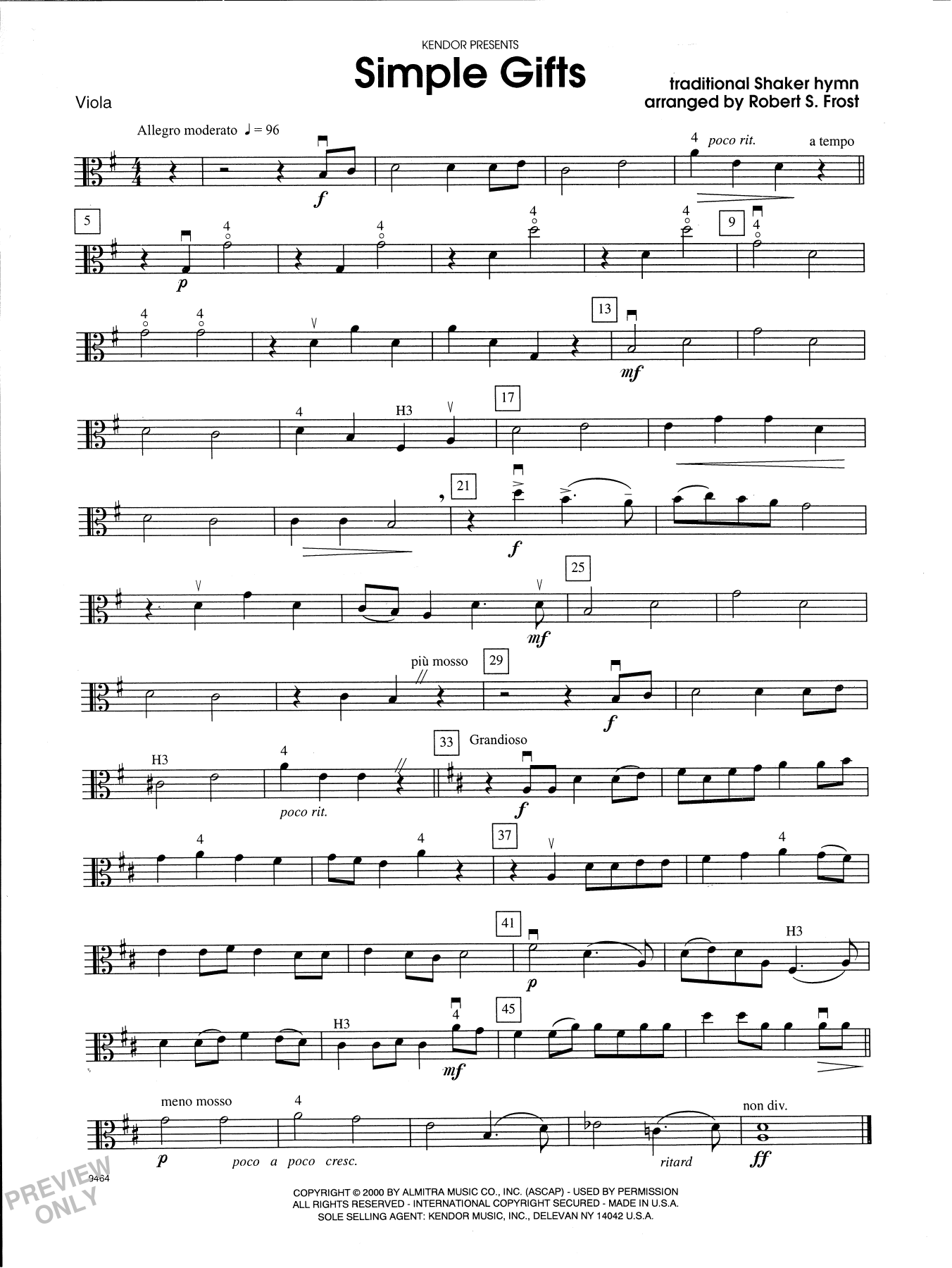 Robert S. Frost Simple Gifts - Viola sheet music notes and chords. Download Printable PDF.