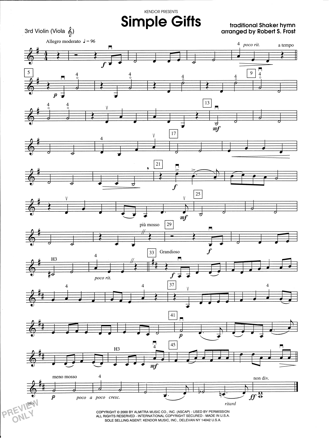 Robert S. Frost Simple Gifts - Violin 3 (Viola T.C.) sheet music notes and chords. Download Printable PDF.