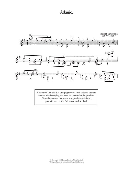 Robert Schumann Adagio sheet music notes and chords. Download Printable PDF.