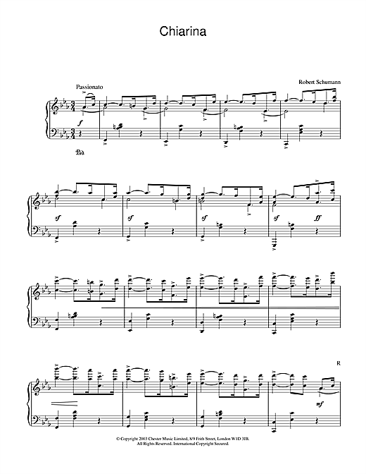 Robert Schumann Chiarina sheet music notes and chords. Download Printable PDF.