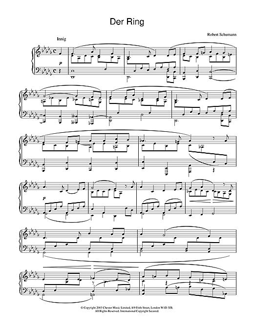Robert Schumann Der Ring sheet music notes and chords