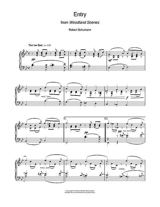 Robert Schumann Entry From Woodland Scenes sheet music notes and chords