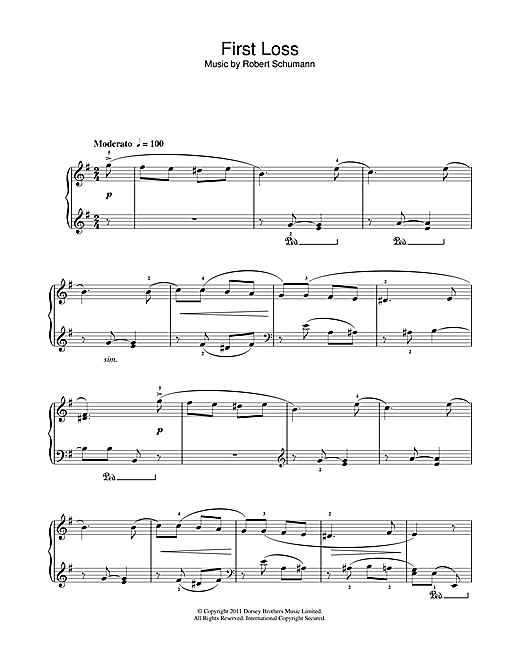 Robert Schumann First Loss sheet music notes and chords. Download Printable PDF.