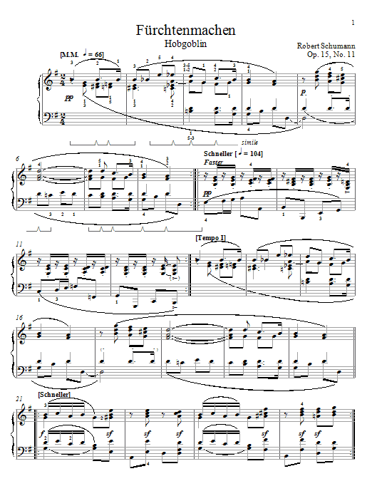 Robert Schumann Frightening, Op. 15, No. 11 sheet music notes and chords. Download Printable PDF.