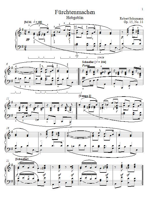 Robert Schumann Frightening, Op. 15, No. 11 sheet music notes and chords