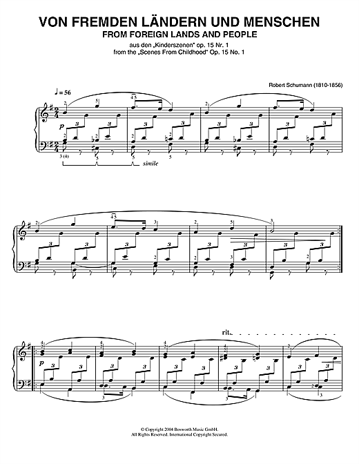 Robert Schumann From Foreign Lands And People (from Scenes From Childhood) sheet music notes and chords