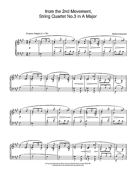 Robert Schumann from the 2nd Movement, String Quartet No.3 in A Major sheet music notes and chords. Download Printable PDF.