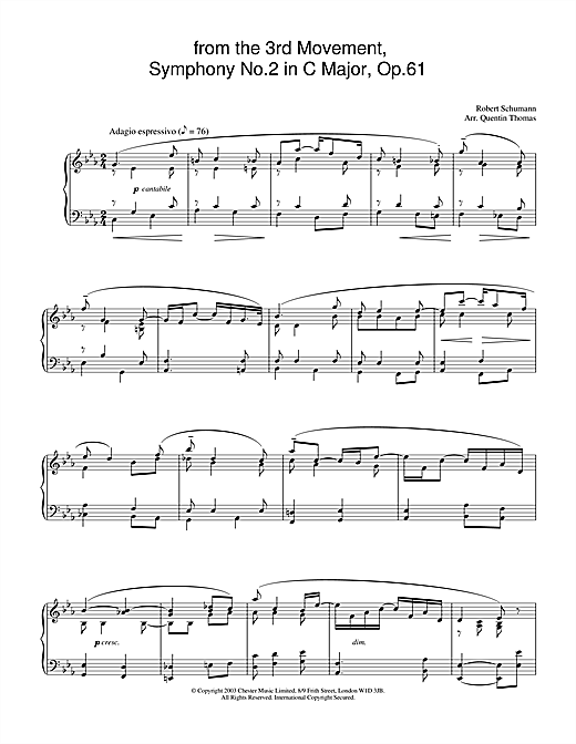 Robert Schumann from the 3rd Movement, Symphony No.2 in C Major, Op.61 sheet music notes and chords