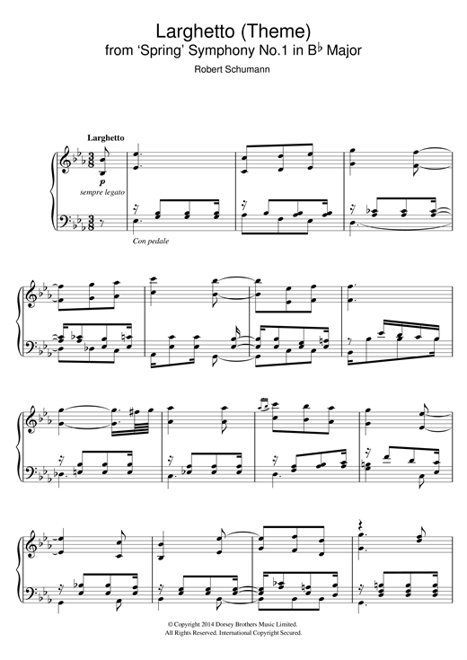 Robert Schumann Larghetto (Theme) from 'Spring' Symphony No.1 in B Flat Major sheet music notes and chords. Download Printable PDF.
