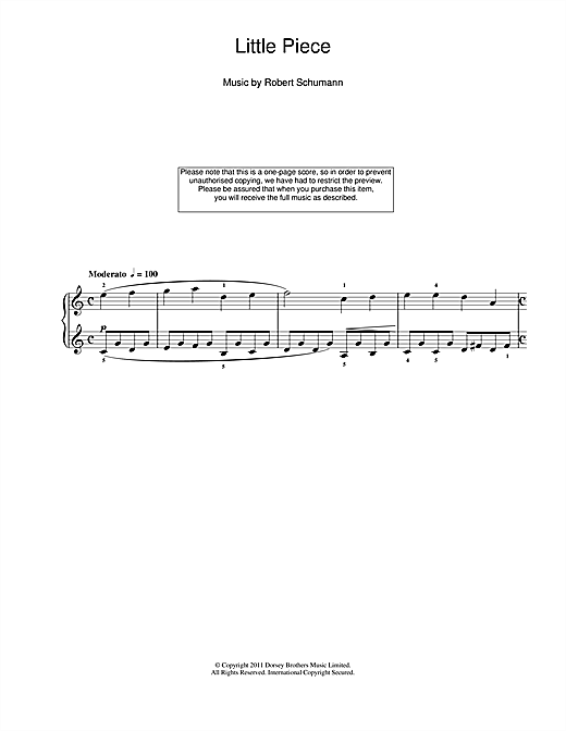 Robert Schumann Little Piece sheet music notes and chords. Download Printable PDF.
