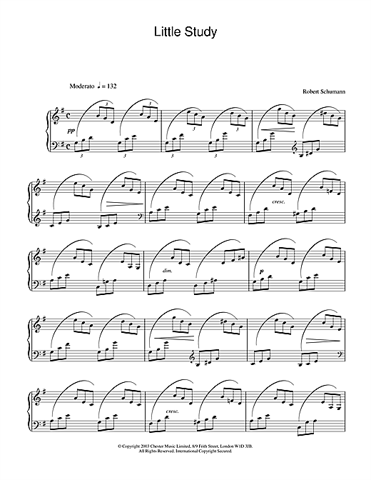 Robert Schumann Little Study sheet music notes and chords. Download Printable PDF.