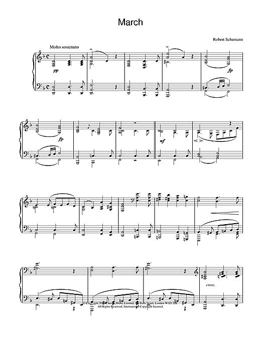 Robert Schumann March sheet music notes and chords