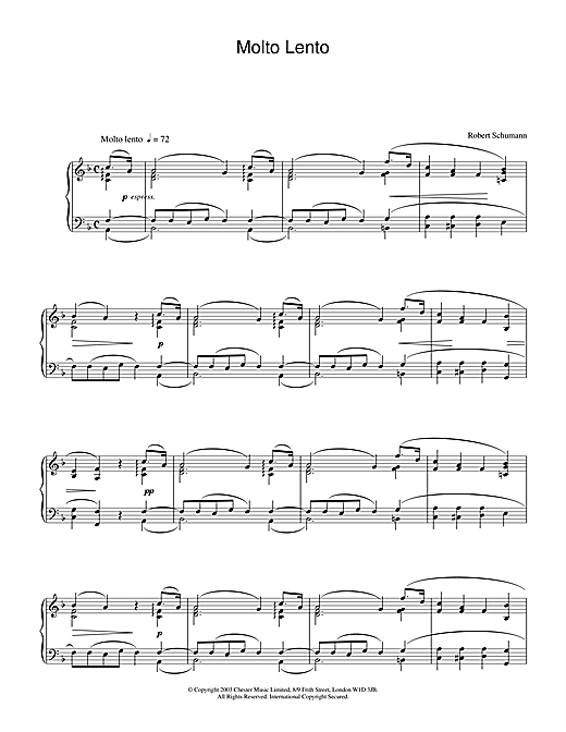 Robert Schumann Molto Lento sheet music notes and chords. Download Printable PDF.