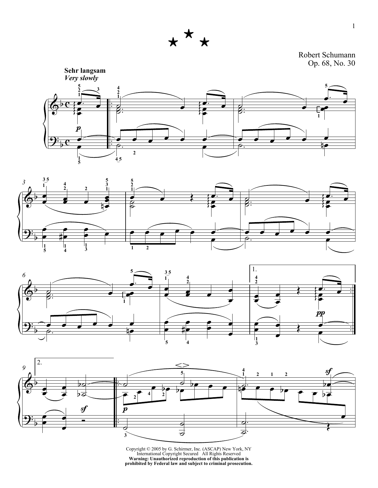 Robert Schumann Molto Lento, Op. 68, No. 30 sheet music notes and chords. Download Printable PDF.