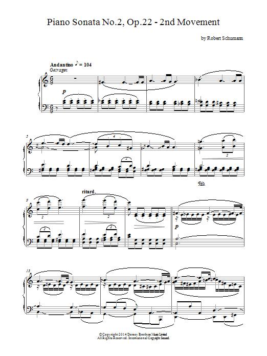Robert Schumann Piano Sonata No.2, Op.22 - 2nd Movement sheet music notes and chords. Download Printable PDF.