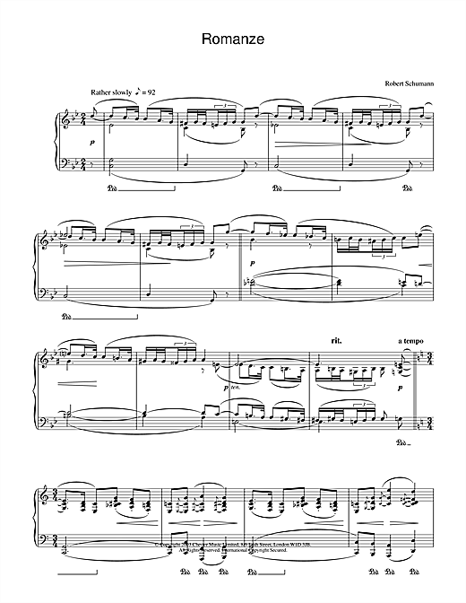 Robert Schumann Romanze sheet music notes and chords. Download Printable PDF.