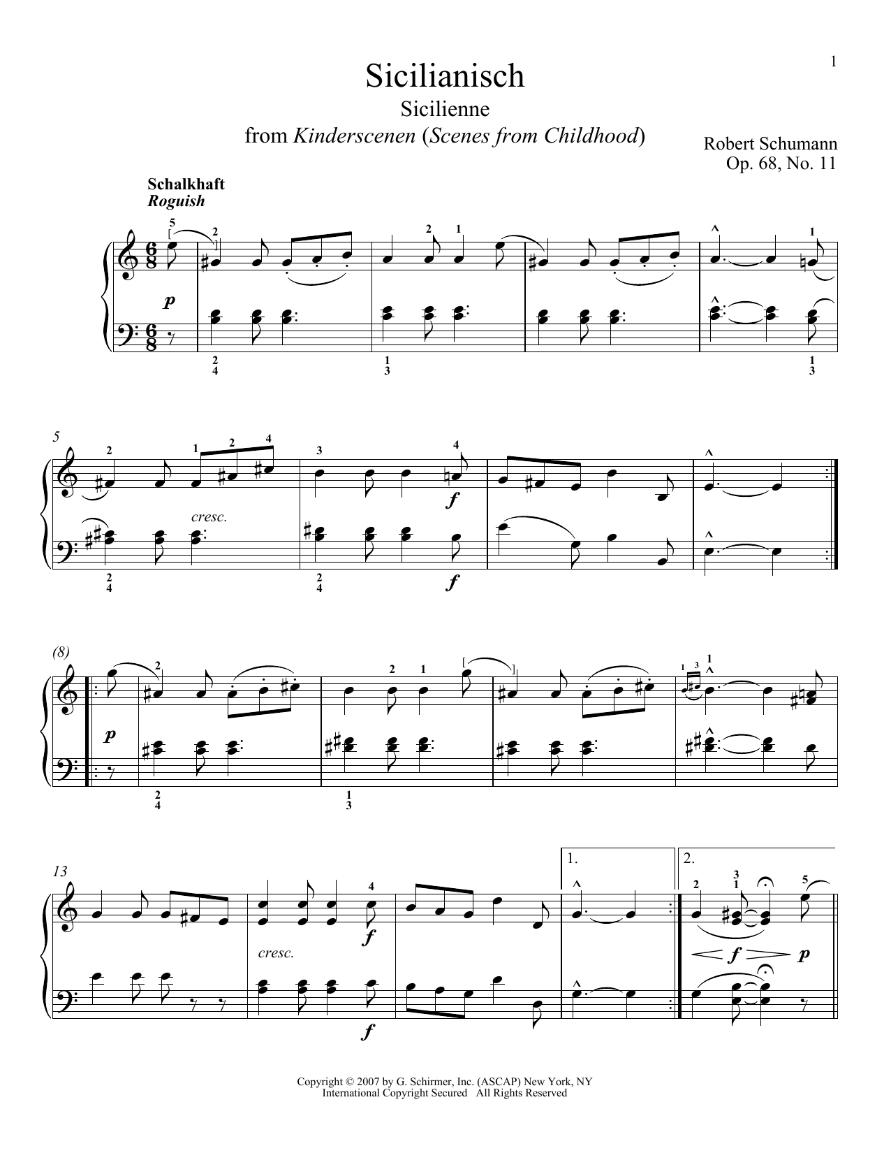 Robert Schumann Sicilienne, Op. 68, No. 11 sheet music notes and chords. Download Printable PDF.