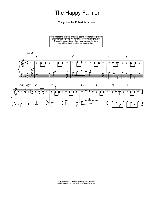 Robert Schumann The Happy Farmer sheet music notes and chords. Download Printable PDF.