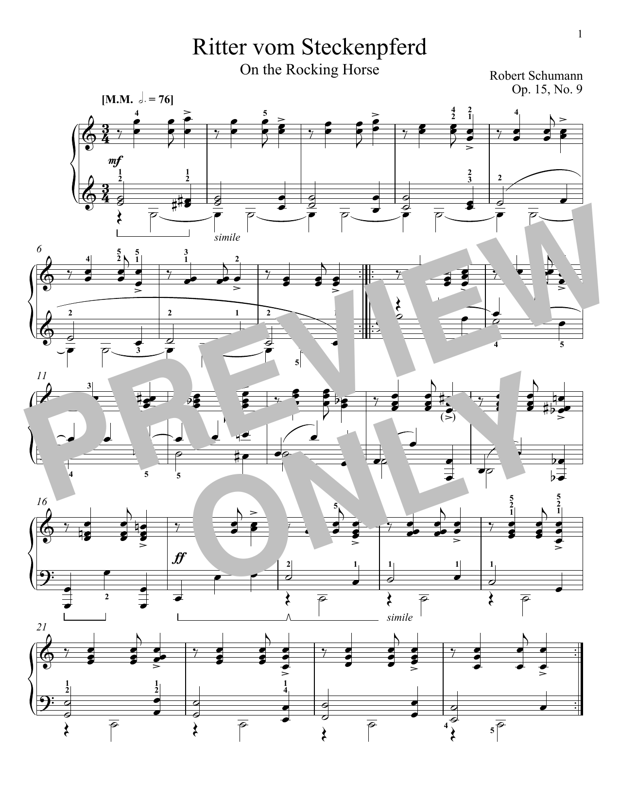 Robert Schumann The Knight Of The Rocking-Horse, Op. 15, No. 9 sheet music notes and chords. Download Printable PDF.