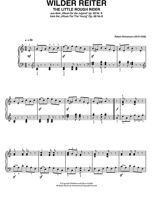 Robert Schumann The Little Rough Rider (From Album For The Young) sheet music notes and chords. Download Printable PDF.