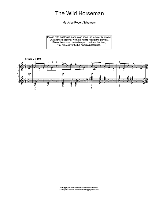 Robert Schumann The Wild Horseman sheet music notes and chords. Download Printable PDF.