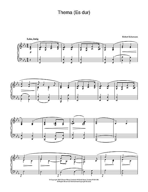 Robert Schumann Thema (Es dur) sheet music notes and chords. Download Printable PDF.