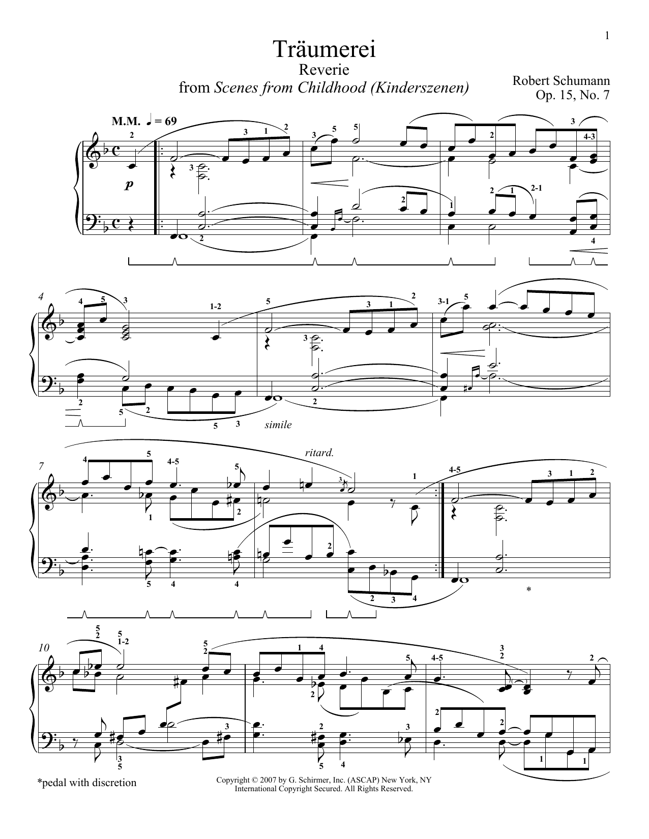 Robert Schumann Traumerei sheet music notes and chords. Download Printable PDF.