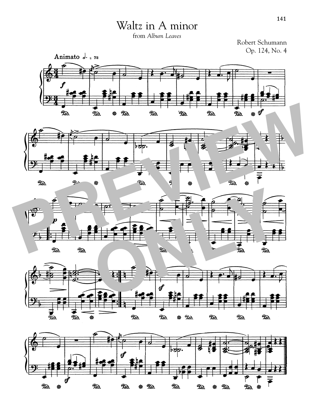 Robert Schumann Waltz In A Minor sheet music notes and chords. Download Printable PDF.