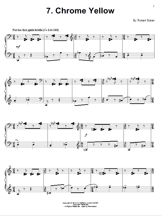Robert Starer Chrome Yellow sheet music notes and chords. Download Printable PDF.