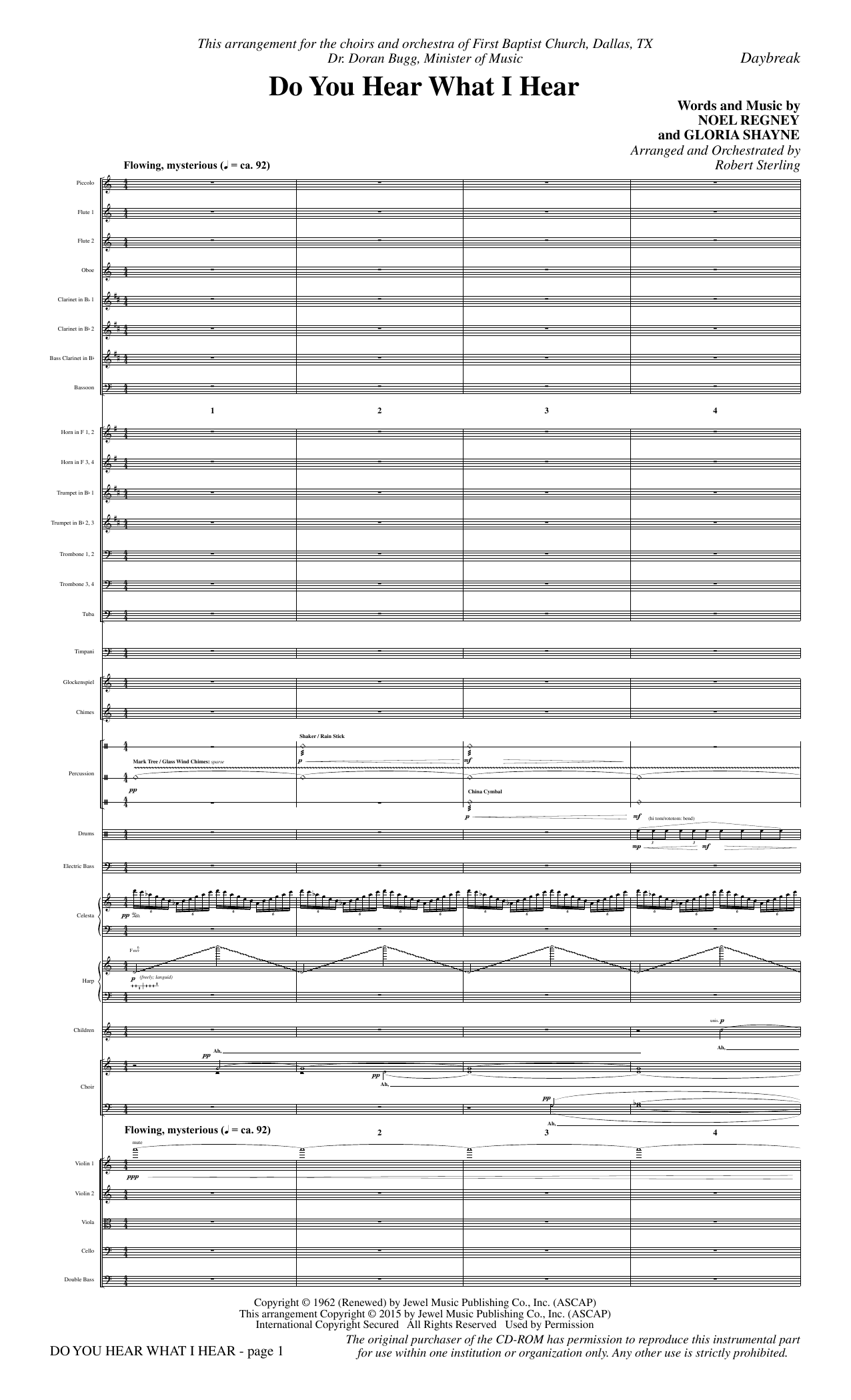 Robert Sterling Do You Hear What I Hear - Full Score sheet music notes and chords