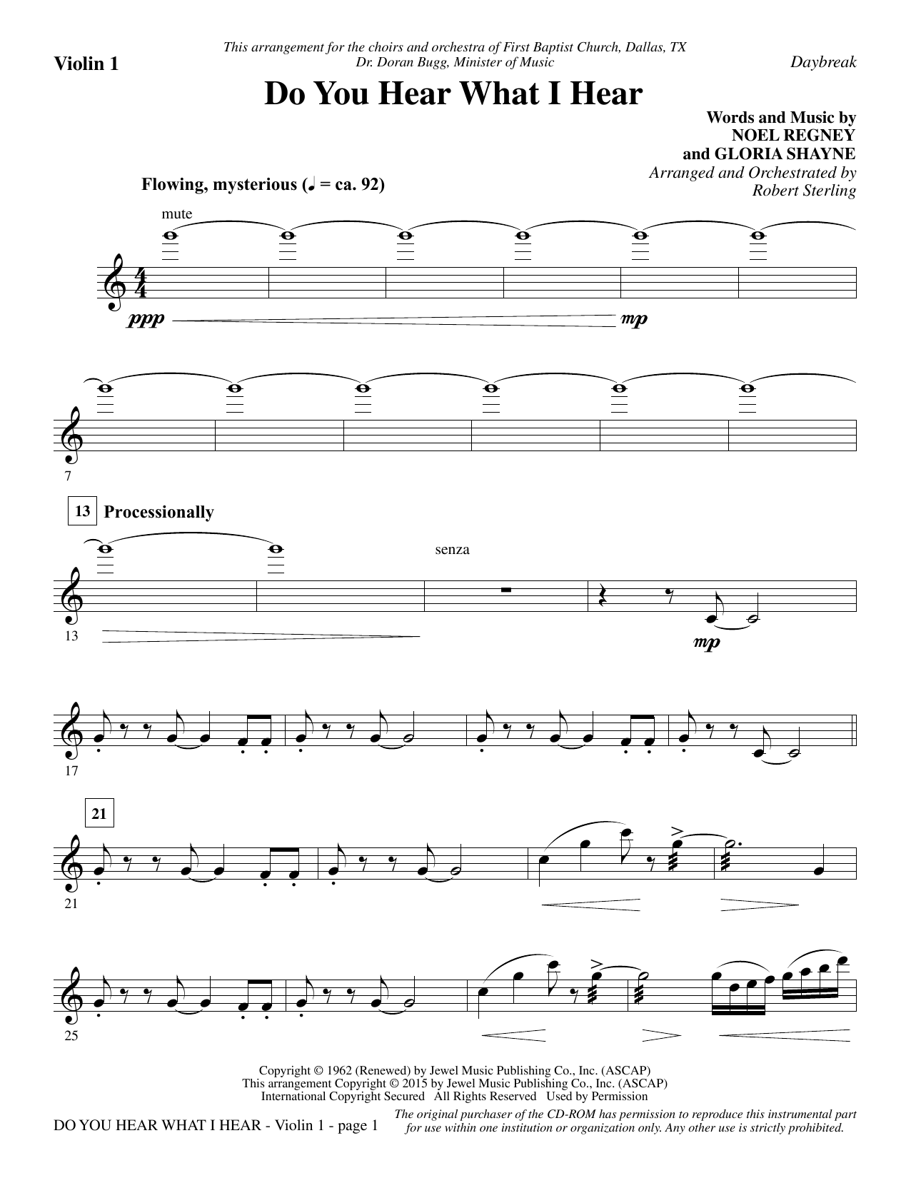 Robert Sterling Do You Hear What I Hear - Violin 1 sheet music notes and chords. Download Printable PDF.