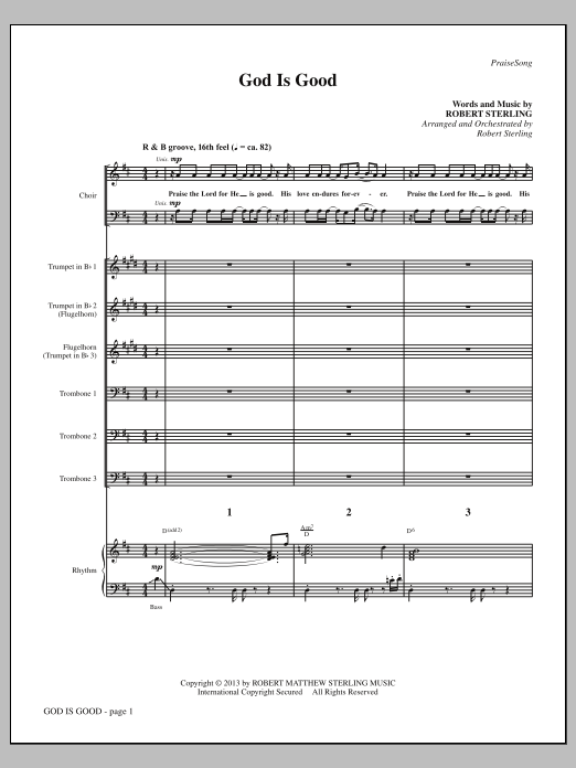 Robert Sterling God Is Good - Full Score sheet music notes and chords. Download Printable PDF.